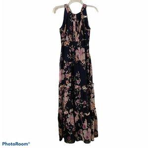 Eliza J Navy Floral Tiered Maxi Dress